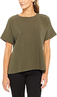 French Connection Women's Short Sleeve Rib Danni Tee, Green (