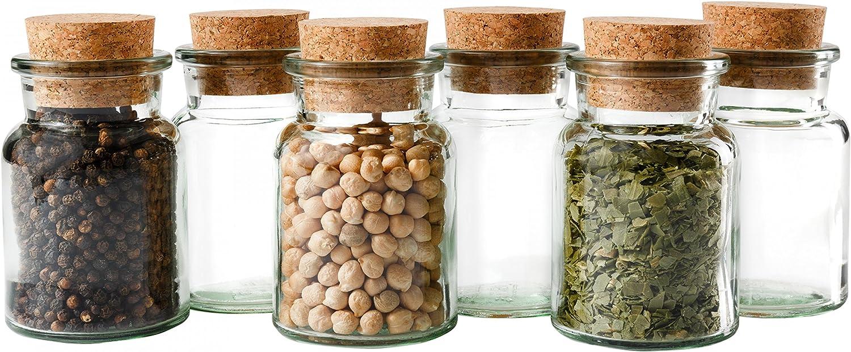 Juego de 6 tarros para condimientos de Mambocat, cantidad de llenado 150ml, vidrio reutizable con tapa de corcho, vidrio redondo de alta calidad para conservar hierbas, té y condimientos