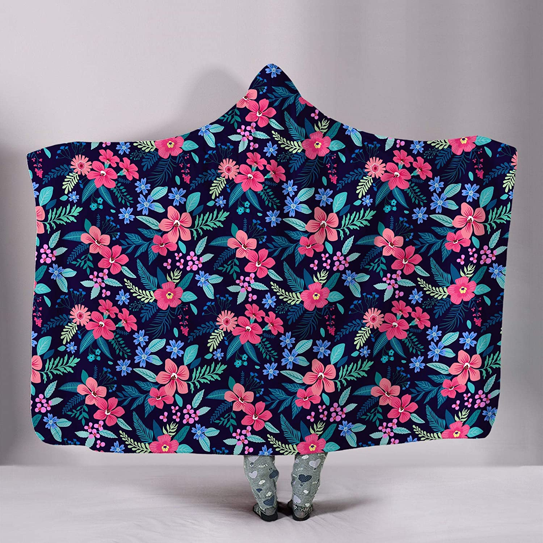 Floral Hooded Blanket Rose Print Flower Popular product Sherpa Bl List price Power