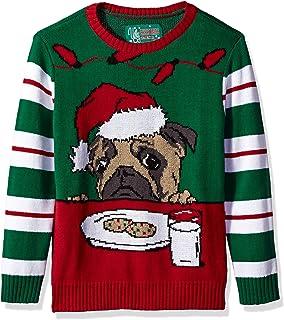"Ugly Christmas Sweater Big Boys (8-20)""Pug with Cookies Xmas Sweater"