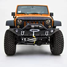GSI Front Bumper with OE Fog Light Hole and Winch Mount Plate-Black Textured for 07-18 Jeep Wrangler JK