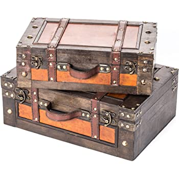 Trademark Innovations Vintage Style Wood Decorative Suitcases - (Set of 2)