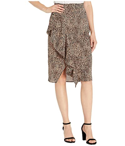 1.STATE Ruffle Front Leopard Muse Pencil Skirt (Caramel Multi) Women