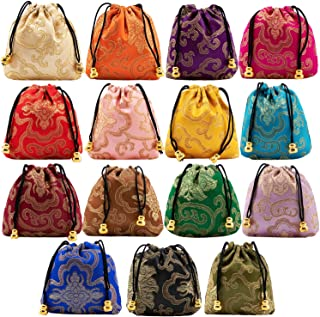 30Pcs Silk Coin Bags Brocade Coin Bags Pouches Jewelry Gift Bag Candy Sachet Pouch Small Chinese Embroidered Organizers Pocket for Women Girls Dice Necklaces Earrings Bracelets