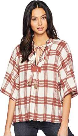 Plaid Frayed Top