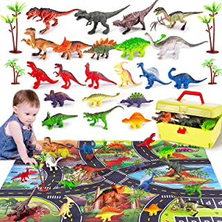 Dinosaur Toys, RISUNTOY Dinosaur Figures w/ Activity Play Mat & Trees, Educational Realistic Dinosaur Playset to Create a ...