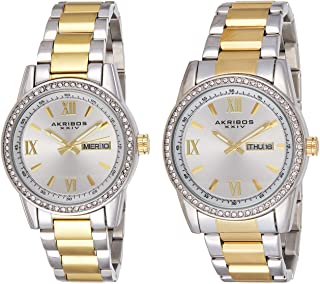 Men's and Women's Watch Matching Set - His and Her and Crystal Filled Watch Roman Numerals with Date Window on Stainless Steel Bracelet - AK888