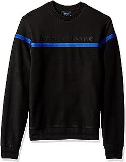 Men's Plus Size Cotton Fleece Sweatshirt with Stripe Detail and Front Logo