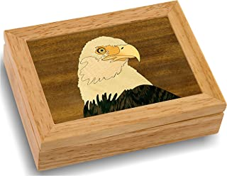 Wood Art Eagle Box - Handmade USA - Unmatched Quality - Unique Original Art Work - Eagle Scout Gift, Ring Trinket Jewelry Box (#4101 Eagle Head 4x5x1.5)
