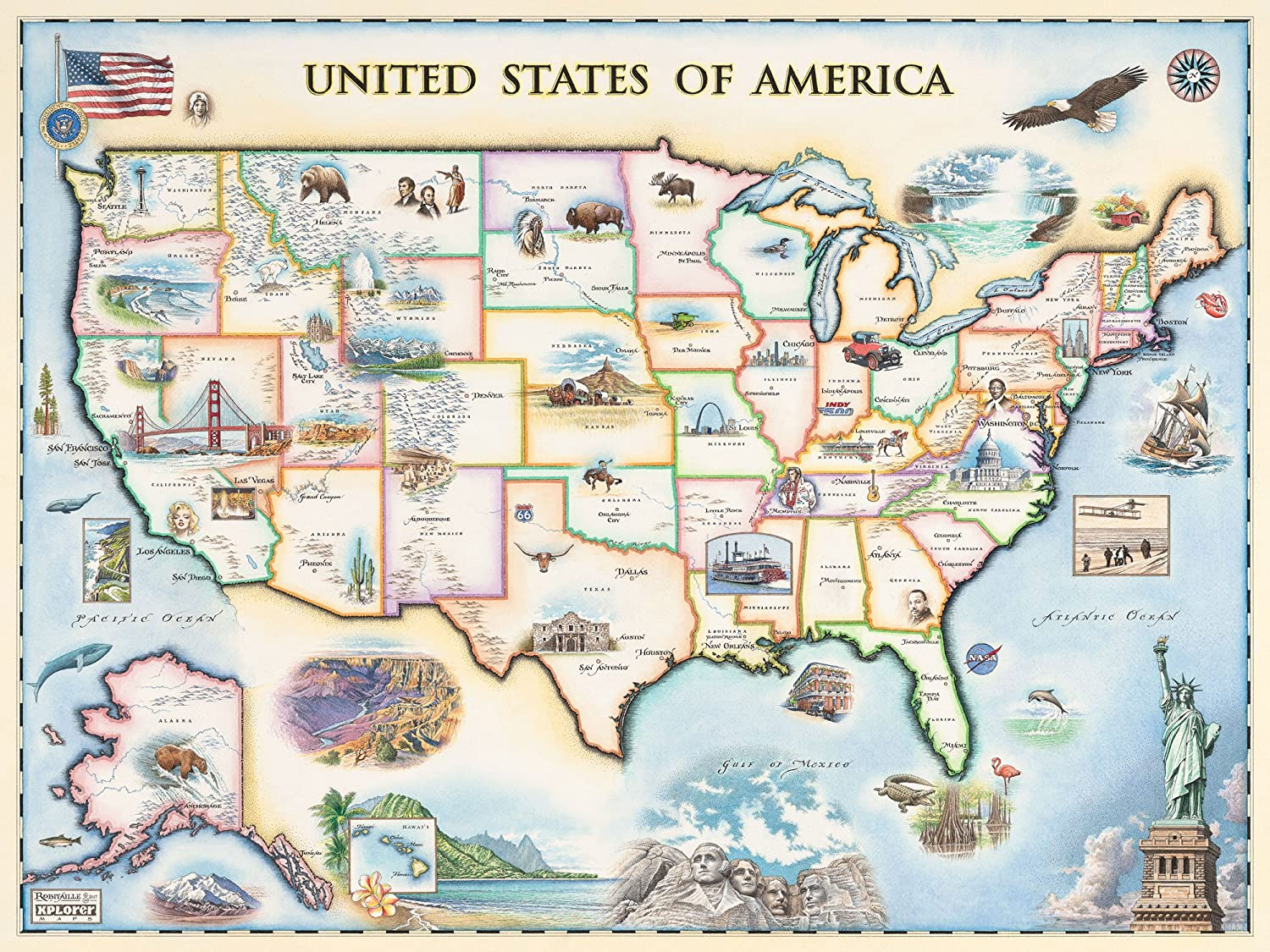 USA Map Wall Art Poster - Authentic Ranking TOP3 Hand Maps Old in World Max 88% OFF Drawn