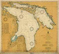 Map - General Chart Of Lake Huron Including Georgian Bay And North Channel, 1917 Nautical NOAA Chart - Vintage Wall Art - 44in x 44in