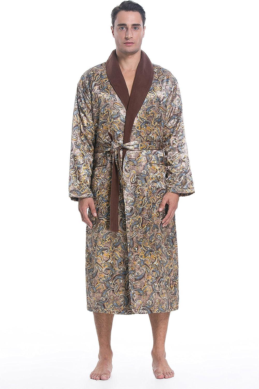 Lavenderi Men's Polyester Satin Polar Fleece Lining Bathrobe Robe