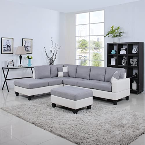 Grey Leather Sectional Sofa: Amazon.com
