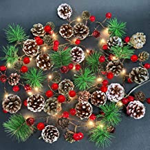 Camlinbo Christmas String Lights, 7FT 20LED Christmas Garland with Lights Frosted Pine Cones Red Berries Bells, Battery Op...