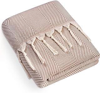 Dreamzie - Mantas para Sofa Reversible, 150x200cm, Beige - Mantas Sofa, Cubrecamas, Algodón 100% Certificado sin Productos químicos, Plaid Cama, Mantas para Cama