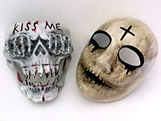 MASQSTUDIO The Purge Cross KISS ME Mask Pair Anarchy Purge Men and Women Boys Girls Horror Purge Killer Masked Men Halloween Costume Party