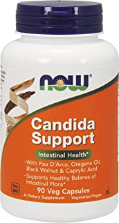 NOW Supplements, Candida Support with Pau D'Arco, Oregano Oil, Black Walnut & Caprylic Acid, 90 Veg Capsules