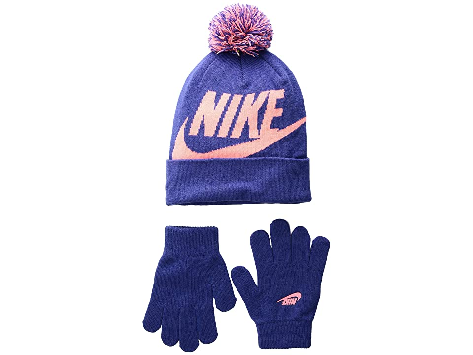 Nike Kids Swoosh Pom Beanie Gloves Set (Little Kids/Big Kids) (Rush Violet/Lava Glow) Beanies