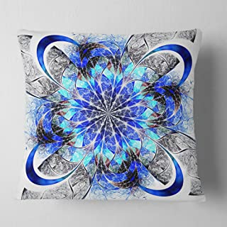 Designart Symmetrical Blue Fractal Flower' Abstract Throw Cushion Pillow Cover for Living Room, sofa 18 in. x 18 in