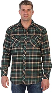 Men's Western Brushed Flannel Plaid Checkered Shirt w/Snap-on Button