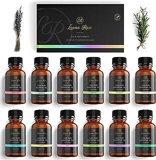 Luana Rose - Sets met etherische oliën - 100% veganistisch en natuurlijk - 12x Aroma-oliën voor diffuser - Pure aroma-olie...