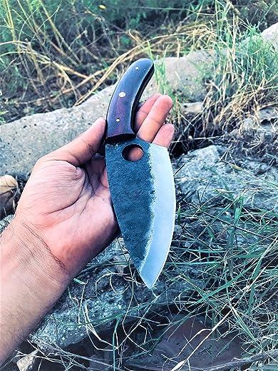SDM-032 Custom Handmade Hunting Knife Bush craft Knife Damascus Steel Survival Knife EDC 10'' Overall Walnut Wood With Sheath
