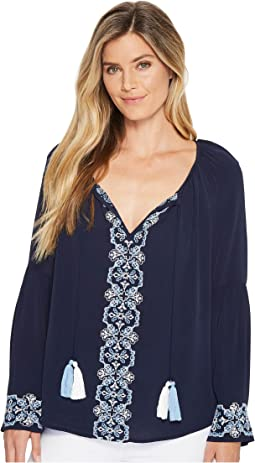 Embroidered Double Tassel Top