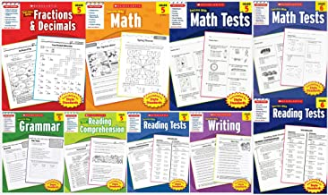 Scholastic Success With - Grade 5 & Grade 6 Workbooks Set (9 books): Fractions&Decimals 5, Math 5, Math Tests 5, Grammar 5...
