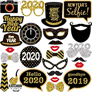 New Years Photo Booth Props– Pack of 27, Real Glitter | 2020 New Years Eve Photobooth Props Decorations | Great for New Years eve Party Supplies 2020 | New Years Decorations for 10 50, DIY Required