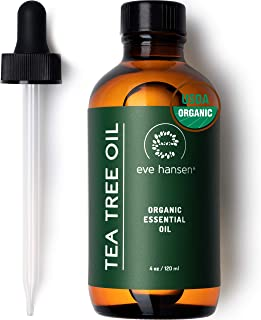 Eve Hansen Organic Tea Tree Oil (4oz) | Highest Quality Melaleuca Alternifolia | Pure Tea Tree Essential Oil for Skin, Scalp, Nails and Aromatherapy