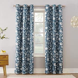 Sun Zero Cooper Botanical Print Thermal Insulated Room Darkening Grommet Curtain Panel 40