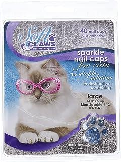 Feline Soft Claw Nail Caps, Large, Blue Sparkle
