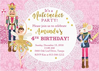Pink Nutcracker Birthday Party Invitation, Base price is for a set of 10 5x7 inch card stock invitations with white envelopes