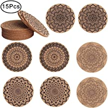 Outee 15 Pieces Cork Coasters Reusable Cup Mat Drink Coaster Absorbent 4 Patterns Gift for Home Restaurant Office and Bar, 4 Inch