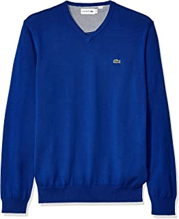 b92823c63368 Lacoste Men s Long Sleeve Half Moon V Neck Jersey Sweater