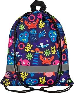 Aminata Kids Kinder-Turnbeutel für Junge-n und Mädchen mit Unterwasser-Welt süße Wal-e Fisch-e Sport-Tasche-n Gym-Bag Sport-Beutel-Tasche bunt blau