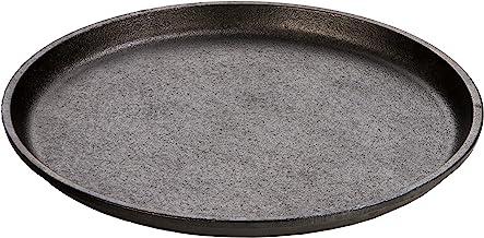"Lodge Cast Iron 9.25"" Round Handless Serving Griddle, Black"