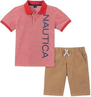Boys Little 2 Pieces Shirt Shorts Set White Print 6 KHQ Nautica Sets
