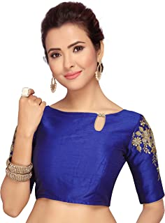 31e6b17508 STUDIO SHRINGAAR WOMEN'S POLY RAW SILK ROYAL BLUE READYMADE SAREE BLOUSE  WITH SLEEVES EMBROIDERY
