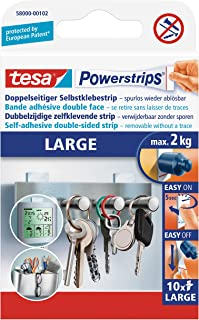 tesa UK Ltd 58000-00104-02 Powerstrips Large Removable Self Adhesive Strips - 10 Strips