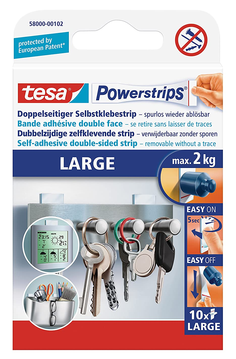 tesa UK Ltd 58000-00104-02 Powerstrips Large Removable Self Adhesive Strips - 10 Strips jdsnrxqctmd263