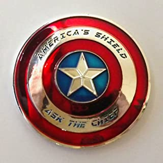 USN United States Navy Captain America Shield Colorized Challenge Art Coin