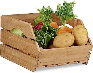 Relaxdays 10022220 Caisse en bois cagette bambou boîte de rangement empilable universelle HxlxP: 20,5 x 27 x 38 cm, natur...