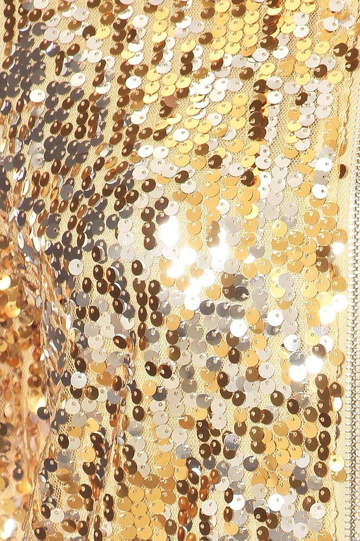ANNA-KACI Damen Glitzer Pailletten Dünne Rib Rop Langarm Reißverschluss Bomberjacke Fliegenjacke Bikerjacke Jacke Gold