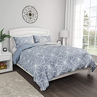 Lavish Home With 2 Shams, Geometric Pattern, Reversible, Hypoallergenic by LHC (Blue), Polyester, Full/Queen