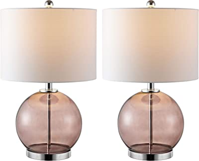 Safavieh Lighting Collection Lonni Smoked Grey Glass 23-inch Bedroom Living Room Home Office Desk Nightstand Table Lamp (Set of 2) - LED Bulbs Included