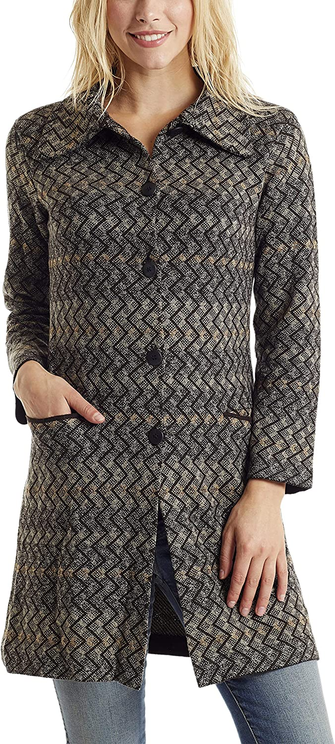 Invisible World Women's Baby Alpaca Wool Cardigan Button Up Sweater Coat