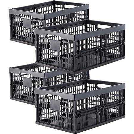 Grizzly Lot de 4 Caisse de Rangement Pliante - Boîte Pliable - Empilables - 32 L