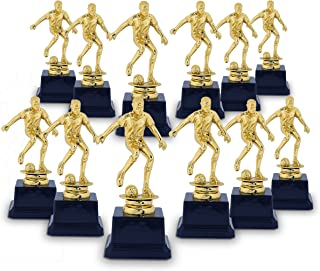 Soccer Trophy - 12-Pack Soccer Gold Trophies - Awards Recognition for Soccer Players, Coaches for Kids Tournaments, Competitions and Sport Party Decorations, Gold, 2.6 x 2.6 x 6.3 inches