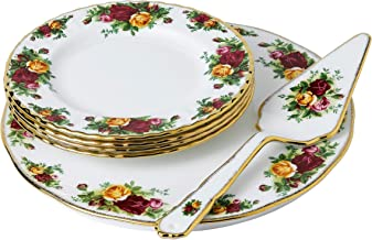 Royal Albert Old Country Roses Cake Server 6 Piece Set, Multicolour